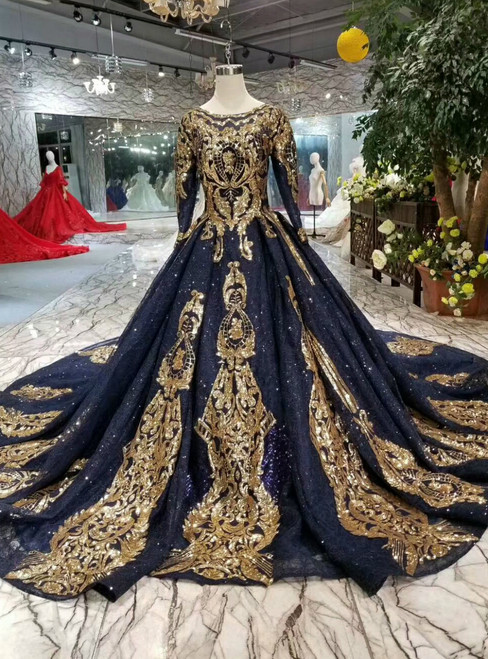 Navy Blue Lace Sequins Appliques Long Sleeve Wedding Dress With Train