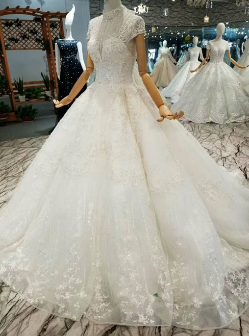 Ball Gown Lace Appliques High Neck Cap Sleeve With Beading Wedding Dress