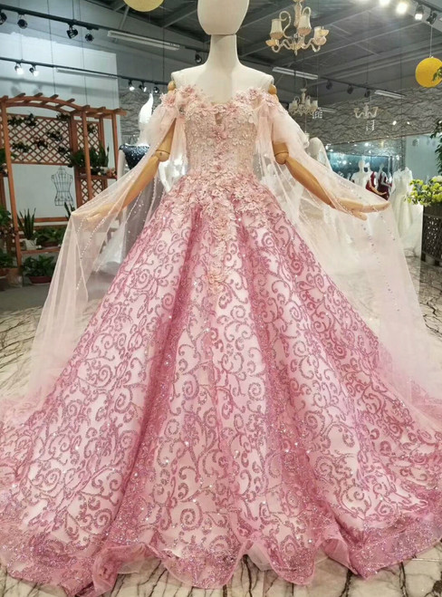 Pink Tulle Sequins Bling Bling Appliques Off The Shoulder Wedding Dress