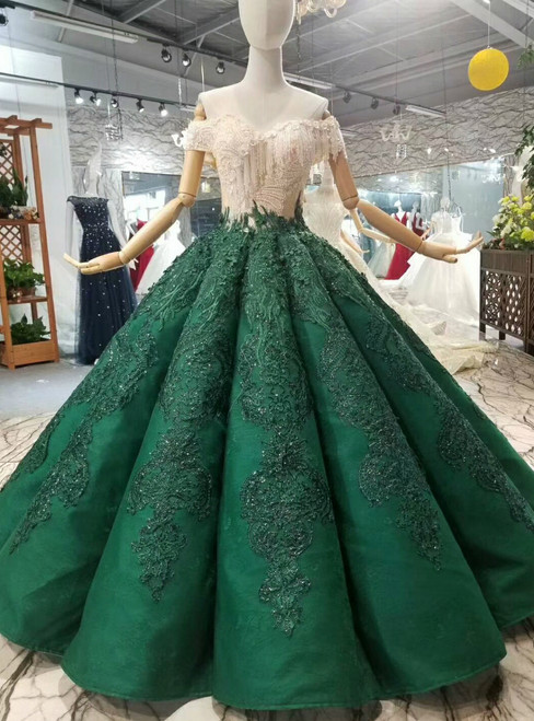 Dark Green Ball Gown Appliques Off The Shoulder Wedding Dress With Train