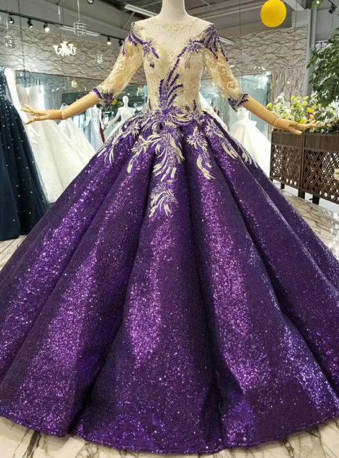 Purple Ball Gown Sequins Appliques Half Sleeve Floor Length Wedding Dress