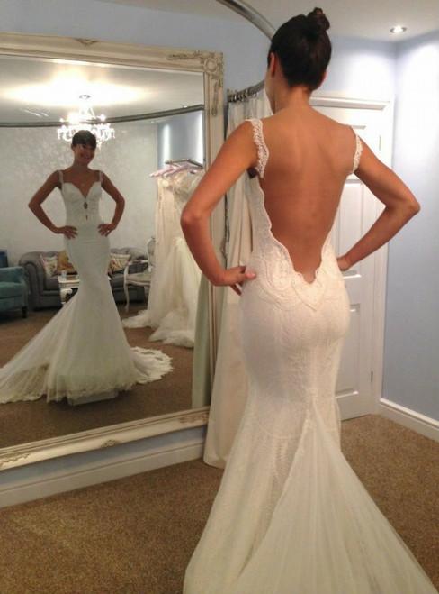 Charming Mermaid Both Shoulders Backless Lace Wedding Dress
