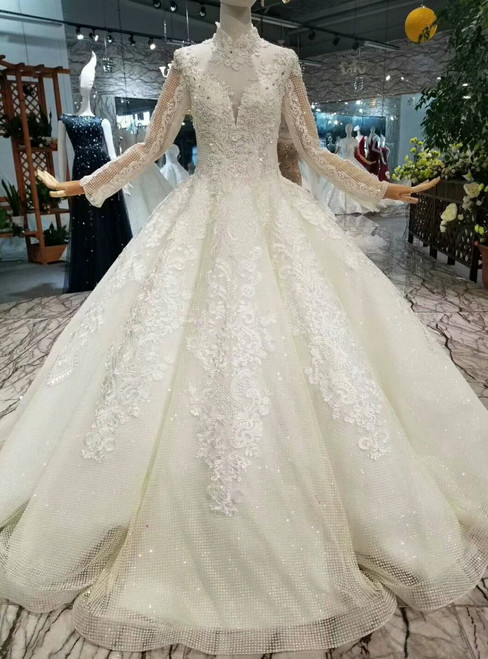 Ball Gown Sequins Tulle Long Sleeve High Neck Backless Wedding Dress