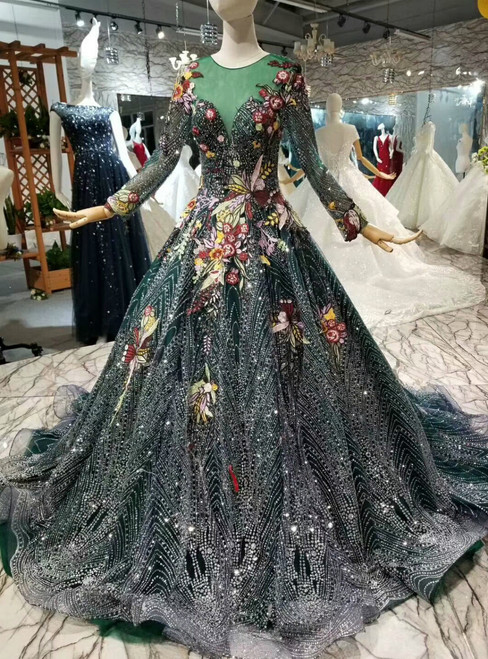 Dark Green Tulle Sequins Embroidery Appliques Long Sleeve Wedding Dress