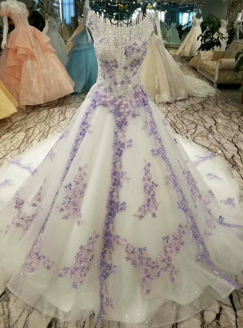 Ball Gown Tulle Sequins Purple Appliques Bateau Wedding Dress With Beading