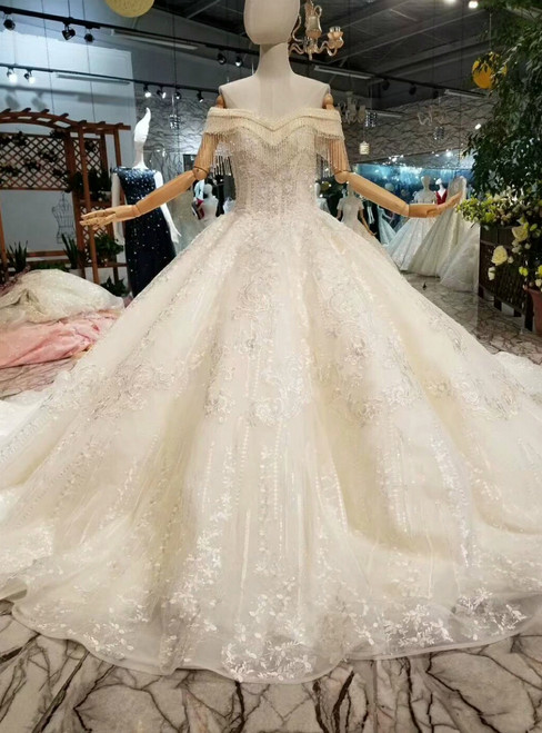 Champagne Ball Gown Tulle Appliques Beading Off The Shoulder Wedding Dress