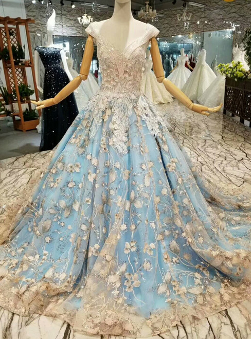 Blue Ball Gown Tulle Sequins Appliques Sweetheart Backless Wedding Dress
