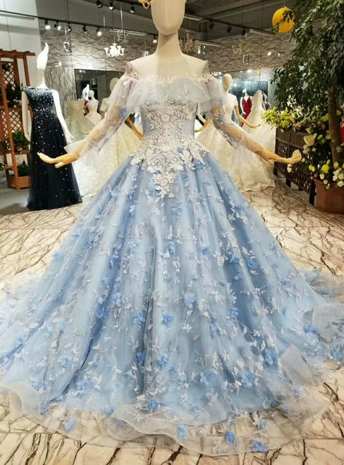 Blue Princess Ball Gown Tulle Appliques Long Sleeve Wedding Dress