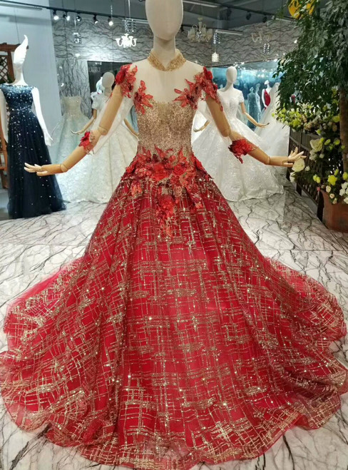 Red Ball Gown Tulle Sequins High Neck Backless Long Sleeve Appliques Wedding Dress