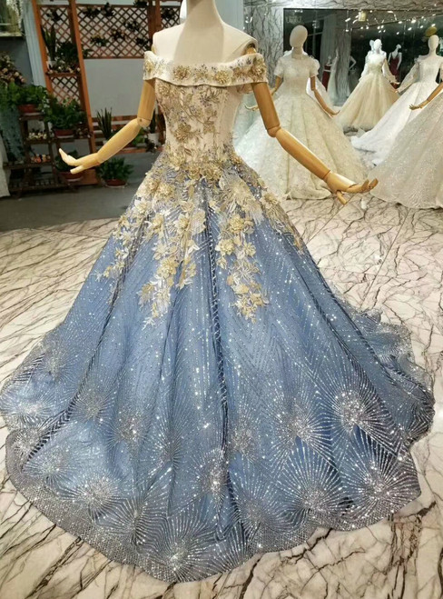 Blue Ball Gown Tulle Sequins Off The Shoulder Appliques Wedding Dress