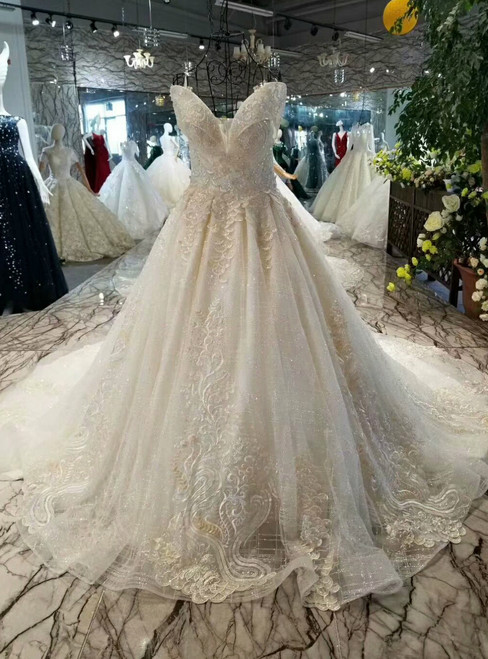 Champagne Ball Gown Tulle Sequins Off The Shoulder Appliques Wedding Dress