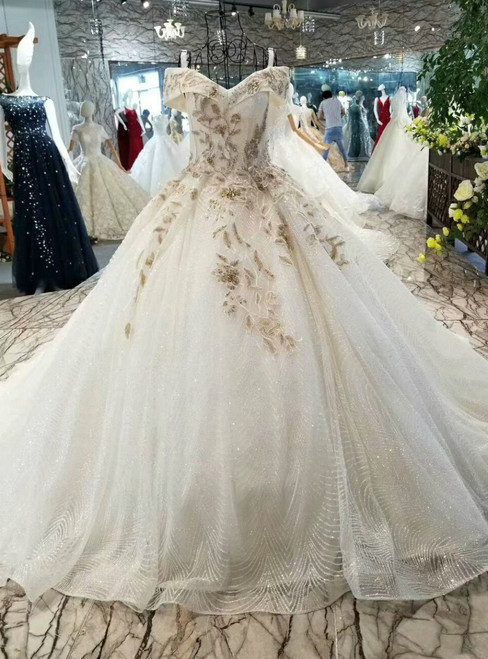 Ball Gown Tulle Sequins Off The Shoulder Appliques Wedding Dress With Train