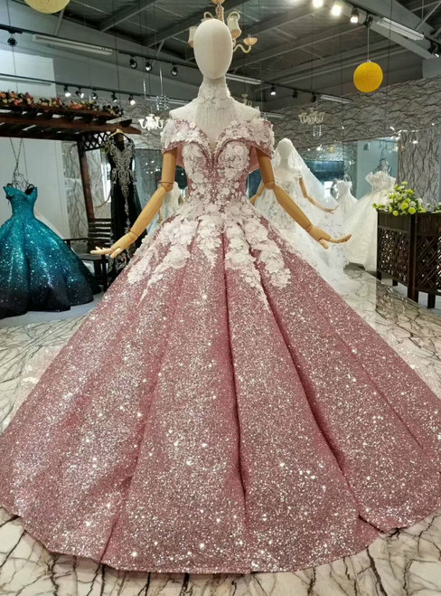 Pink Ball Gown Sequins Appliques Off The Shoulder Wedding Dress With Train