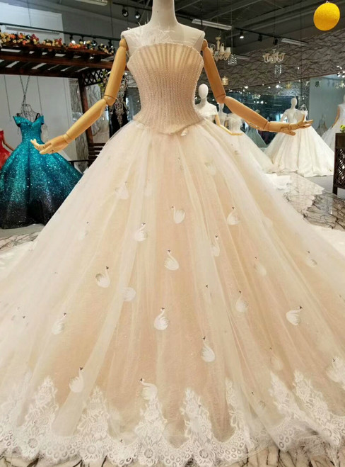Champagne Ball Gown Tulle Strapless Swan Appliques Wedding Dress With Train