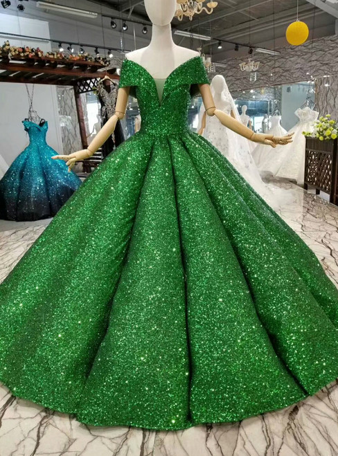 Green Ball Gown Sequins Off The Shoulder Floor Length Wedding Dress