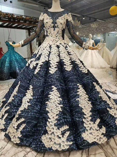 Navy Blue Sequins Long Sleeve Backless Applique Wedding Dress With Train