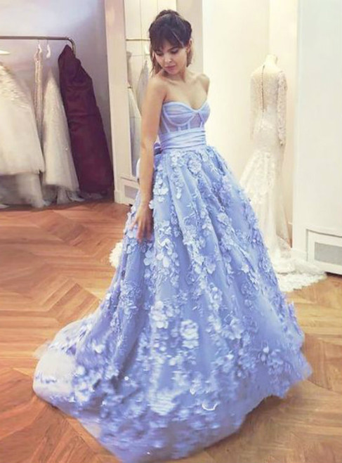 Blue Ball Gown Corset Appliques With Train Prom Dresses