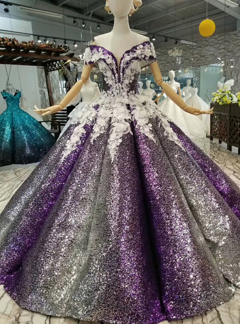 Purple Ball Gown Sequins White Appliques Off The Shoulder Wedding Dress
