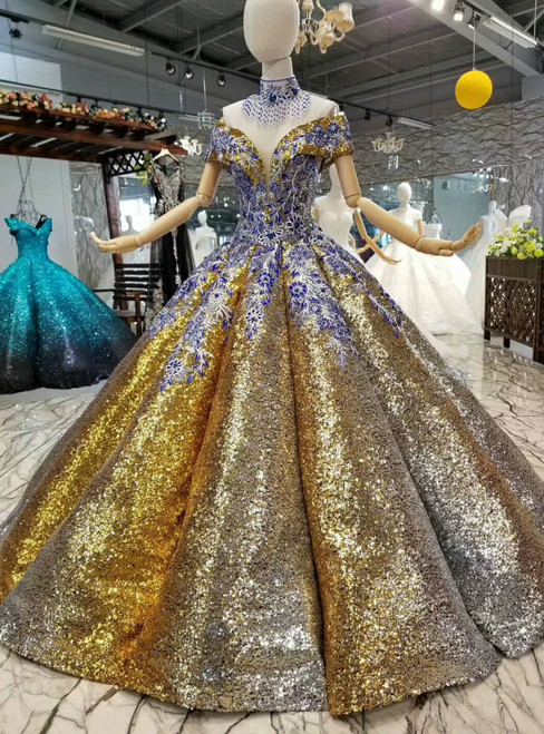 Gold Ball Gown Sequins Embroidery Appliques Off The Shoulde Wedding Dress