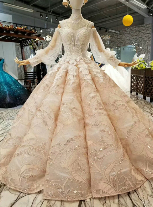 Champagne Ball Gown Sequins Spaghetti Straps Appliques Wedding Dress With Pearls