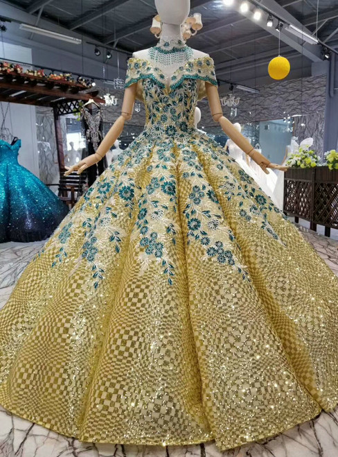 Gold Ball Gown Sequins Green Appliques Off the Shoulder Wedding Dress