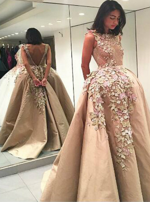 Cheap prom dresses 2017 Elegant Bateau Backless Floor-Length Appliques