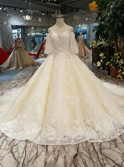 Champagne Tulle Lace Appliques Off The Shoulder Short Sleeve Wedding Dress