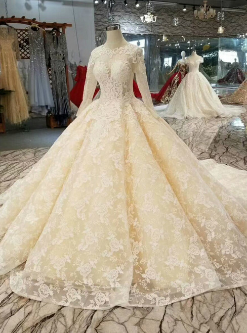 Champagne Ball Gown Tulle Sequins Lace Long Sleeve Wedding Dress