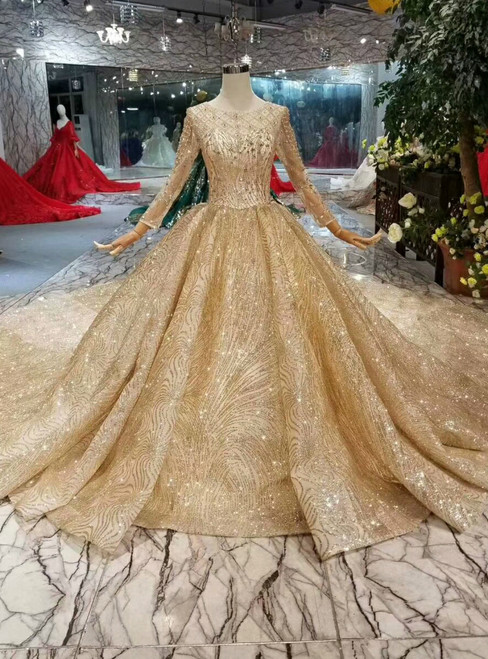 Champagne Gold Tulle Sequins Long Sleeve Beading Wedding Dress With Long Train