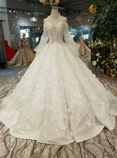 Ball Gown Appliques Off The Shoulder Long Sleeve Wedding Dress With Beading