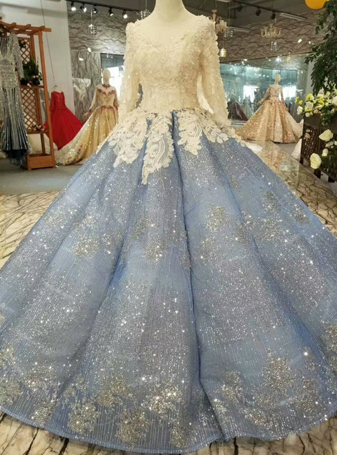 Blue Ball Gown Sequins Long Sleeve Appliques Haute Couture Wedding Dresses