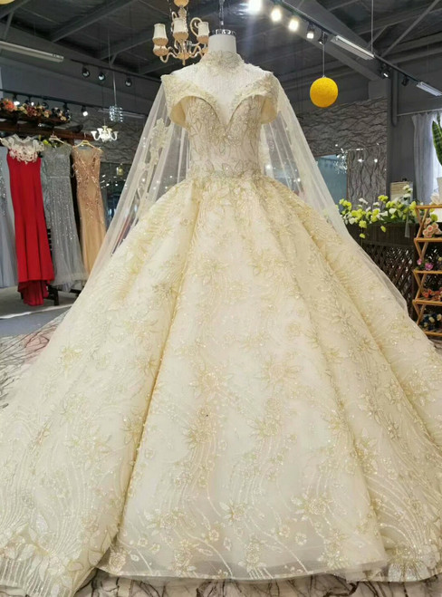 Champagne Tulle Sequins Appliques Off The Shoulder Backless Wedding Dress