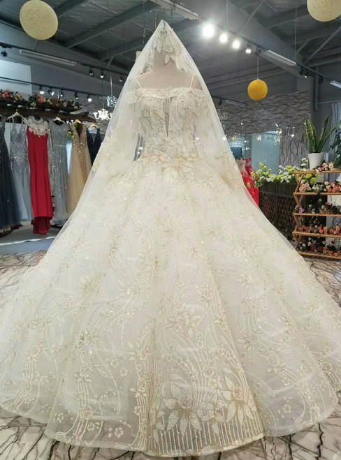 Champagne Tulle Sequins Appliques Spaghetti Straps Long Sleeve Wedding Dress