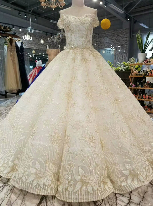 Champagne Tulle Sequins Appliques Off The Shoulder Wedding Dress