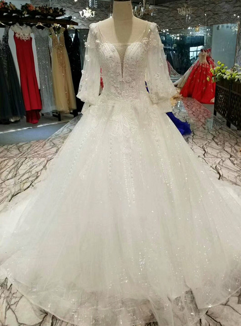 Ball Gown Tulle Sequins Long Sleeve Backless Appliques Wedding Dress