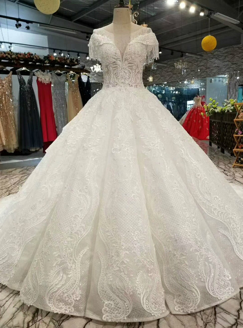 Ball Gown Tulle Sequins Bateau Cap Sleeve Wedding Dress With beading