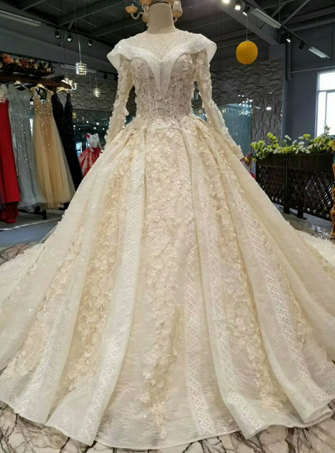 Champagne Ball Gown Tulle Appliques Long Sleeve Backless Beading Wedding Dress