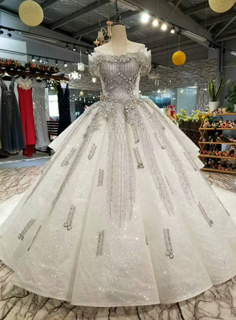 Ball Gown Tulle Sequins Gray Appliques Short Sleeve Wedding Dress With Train