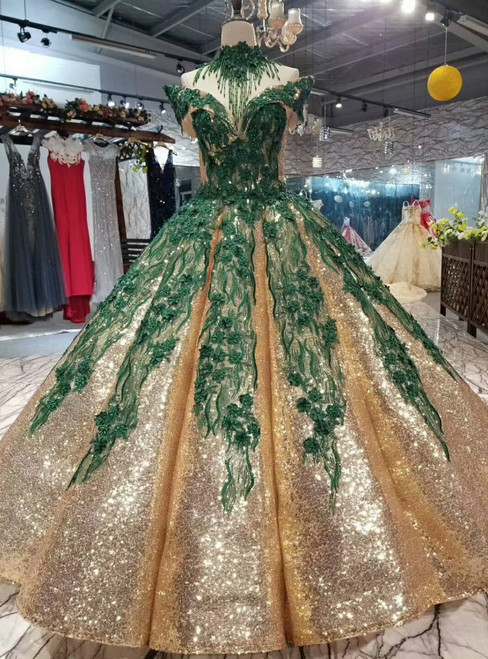 Gold Ball Gown Sequins Green Appliques Off The Shoulder Beading Wedding Dress
