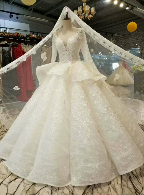 Ball Gown Sequins Lace Appliques Long Sleeve Backless Floor Length Wedding Dress