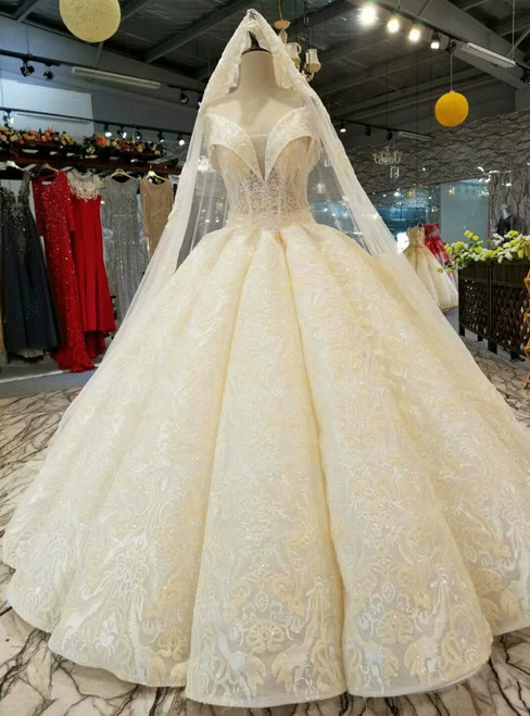 Champagne Ball Gown Lace Appliques Off The Shoulder Backless Wedding Dress