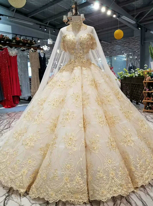 Champagne Ball Gown Tulle Appliques Off The Shoulder Wedding Dress With Beading