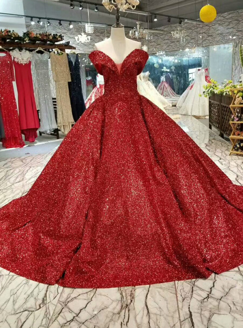 Gorgeous Red Ball Gown Sequins Off The Shoulder Wedding Dress