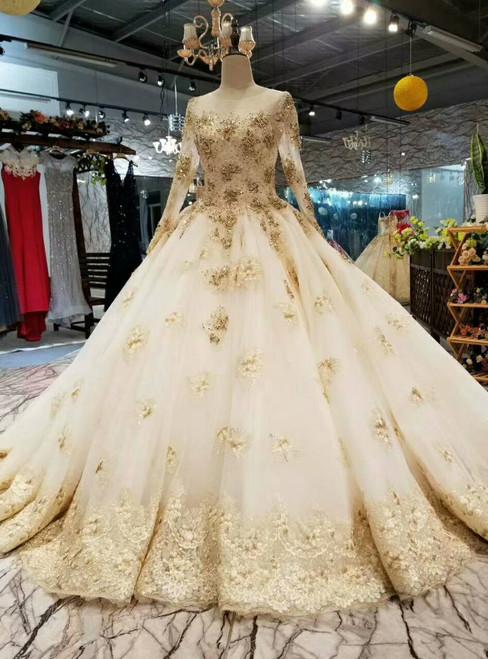Wonderful Champagne Tulle Appliques Long Sleeve Beading Wedding Dress
