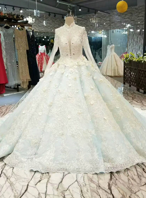 Blue Ball Gown Lave Appliques High Neck Long Sleeve Haute Couture Wedding Dresses