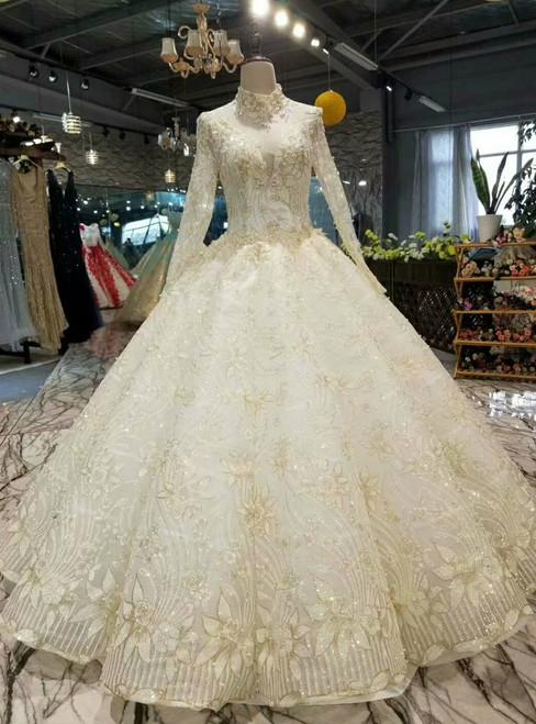 Light Champagne Tulle Sequins High Neck Long Sleeve Backless Wedding Dress