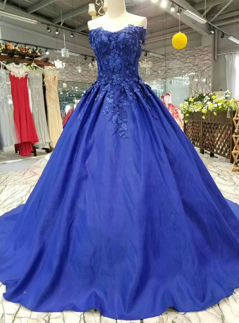 Stunning Blue Ball Gown Satin Appliques Off The Shoulder Wedding Dress
