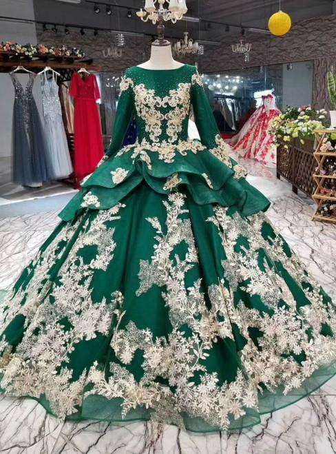 Green Ball Gown Appliques Long Sleeve Bateau Wedding Dress