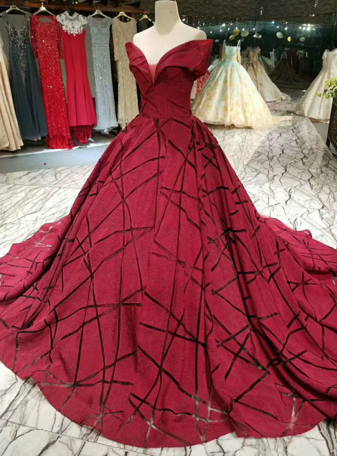 Elegant Red Ball Gown Off The Shoulder Wedding Dress With Train