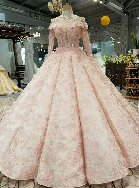 Pink Ball Gown Lace High Neck Long Sleeve Bakcless Appliques Wedding Dress